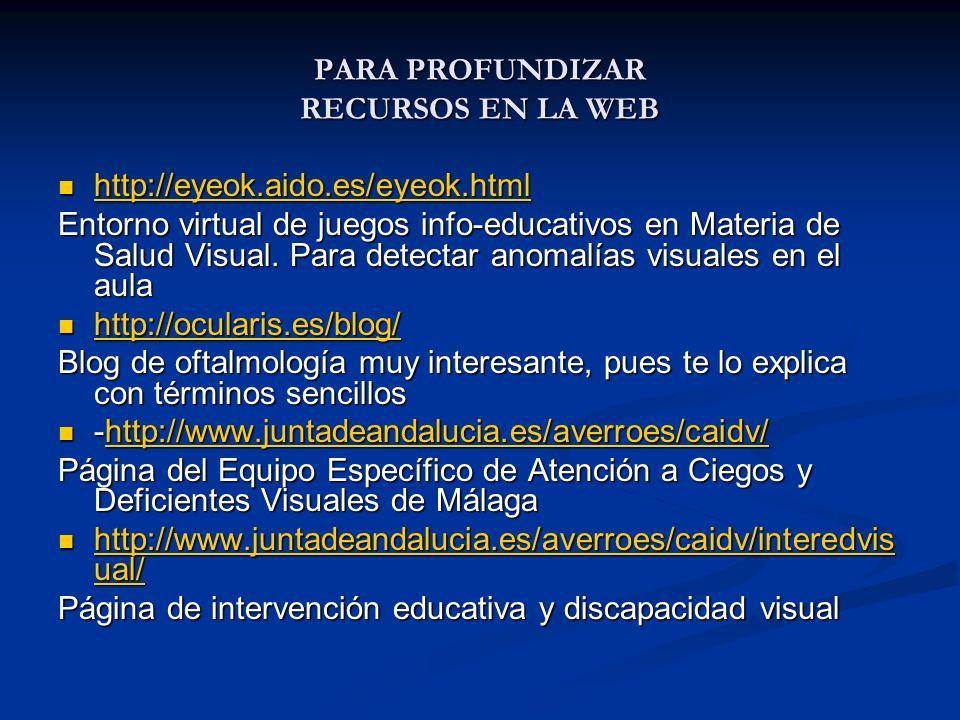 PARA PROFUNDIZAR RECURSOS EN LA WEB