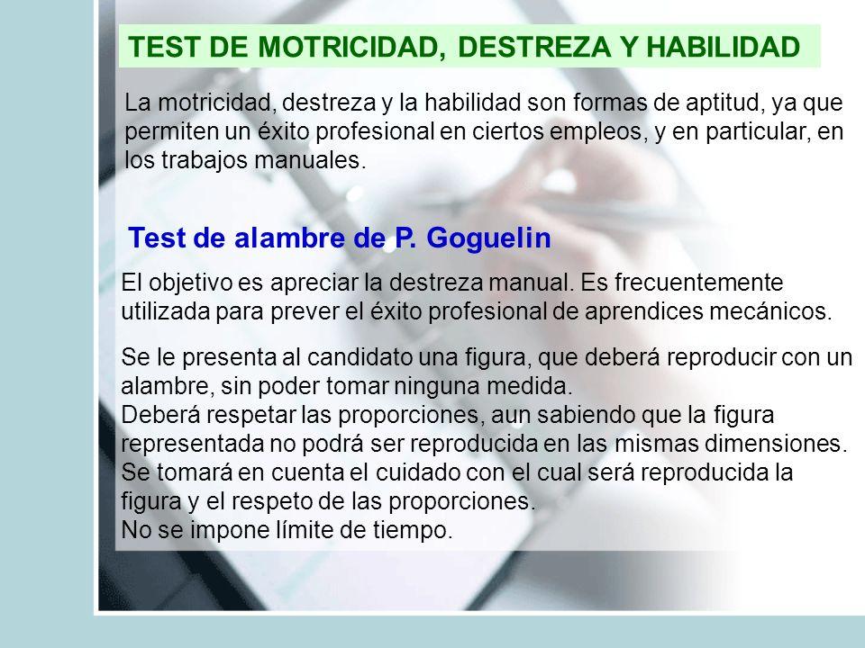 TEST DE MOTRICIDAD, DESTREZA Y HABILIDAD