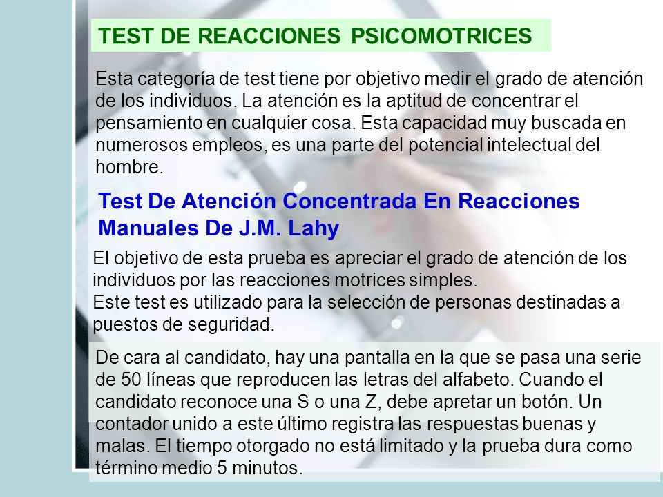 TEST DE REACCIONES PSICOMOTRICES