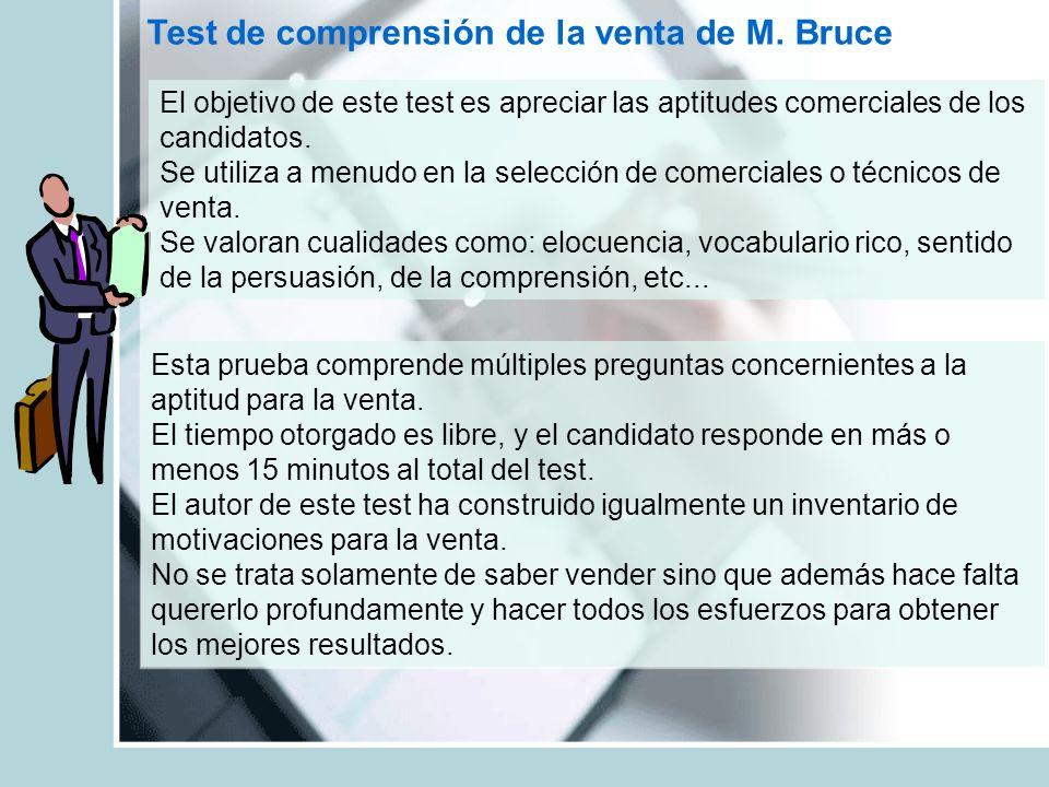 Test de comprensión de la venta de M. Bruce