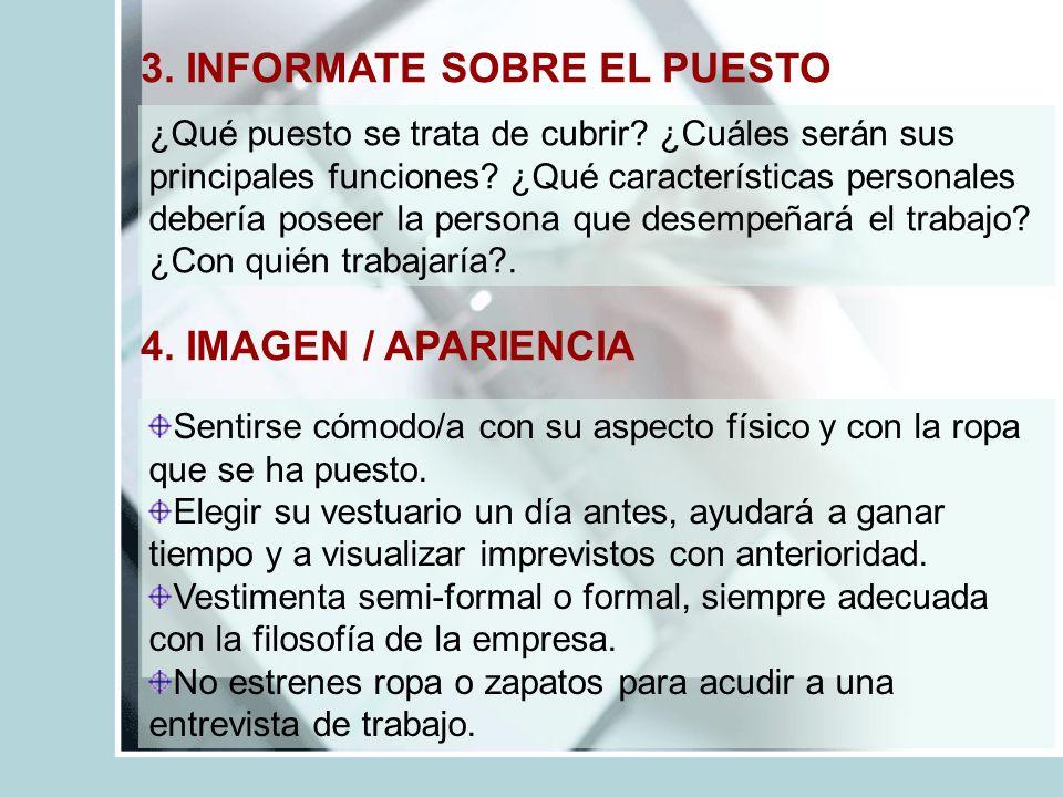 3. INFORMATE SOBRE EL PUESTO