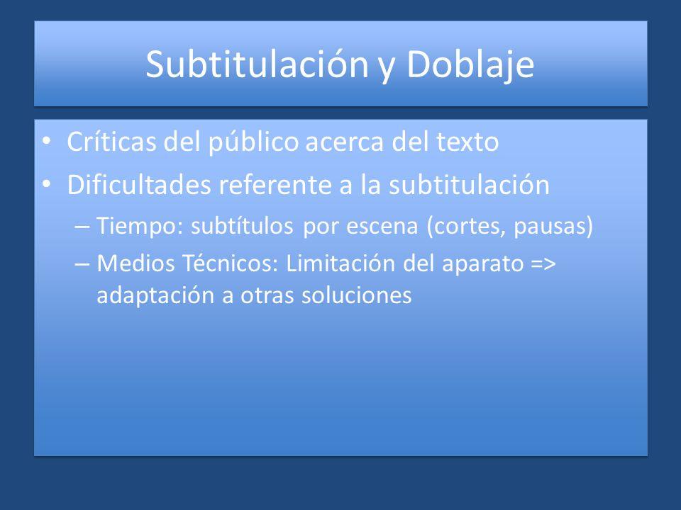 Subtitulación y Doblaje