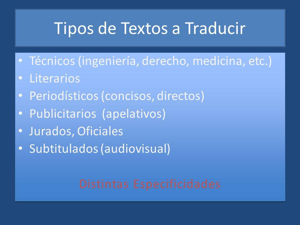 Tipos de Textos a Traducir
