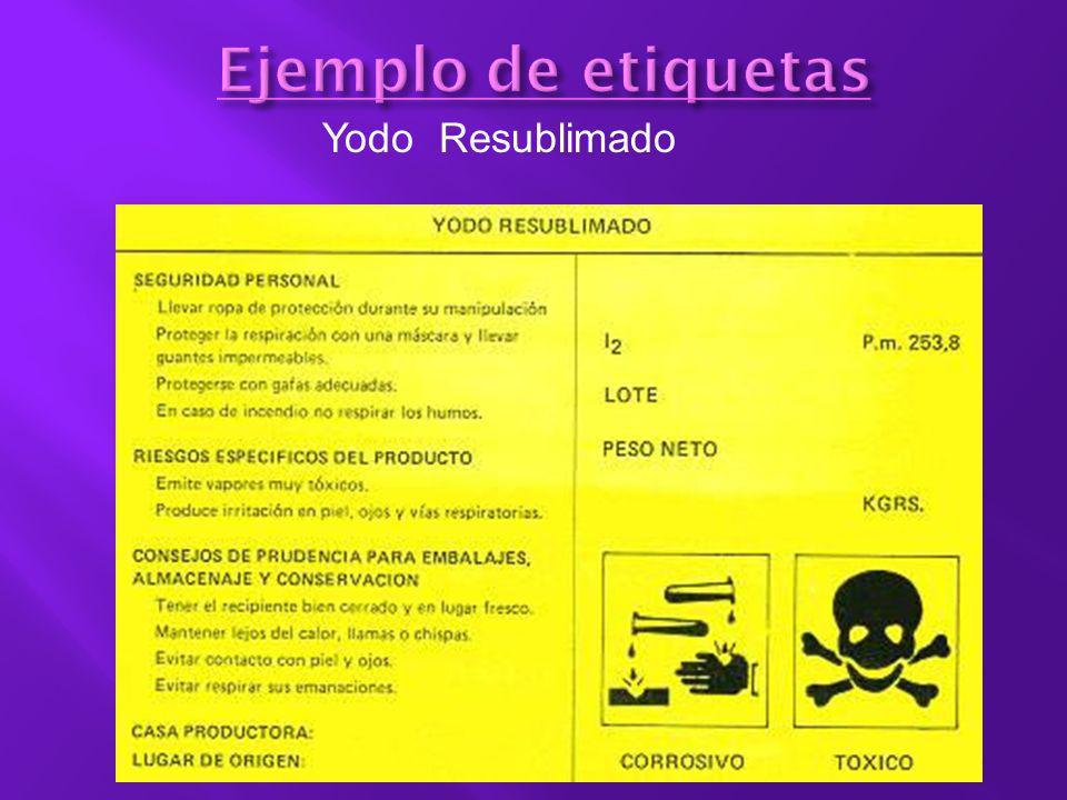 Ejemplo de etiquetas Yodo Resublimado