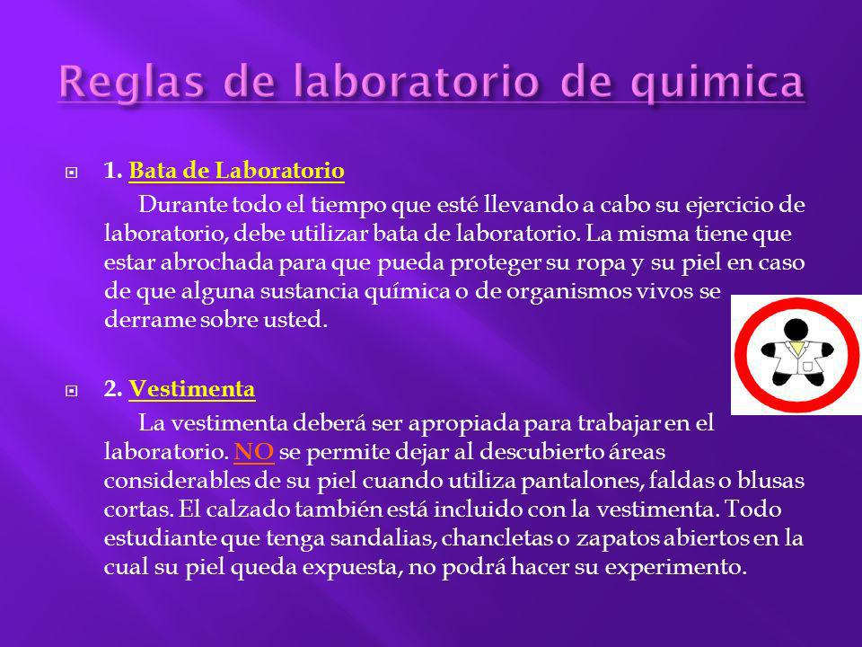 Reglas de laboratorio de quimica