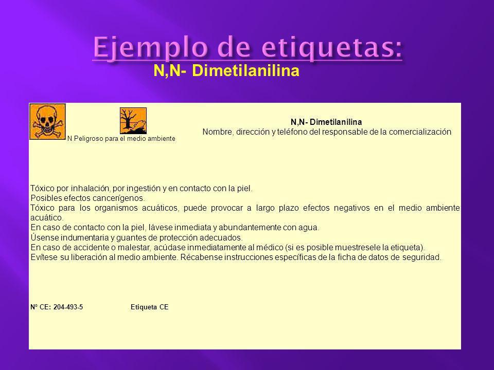 Ejemplo de etiquetas: N,N- Dimetilanilina