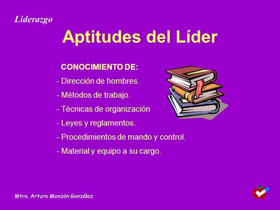 Aptitudes del Líder Liderazgo CONOCIMIENTO DE: - Dirección de hombres.