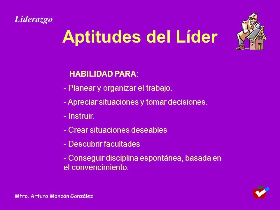 Aptitudes del Líder Liderazgo - Planear y organizar el trabajo.