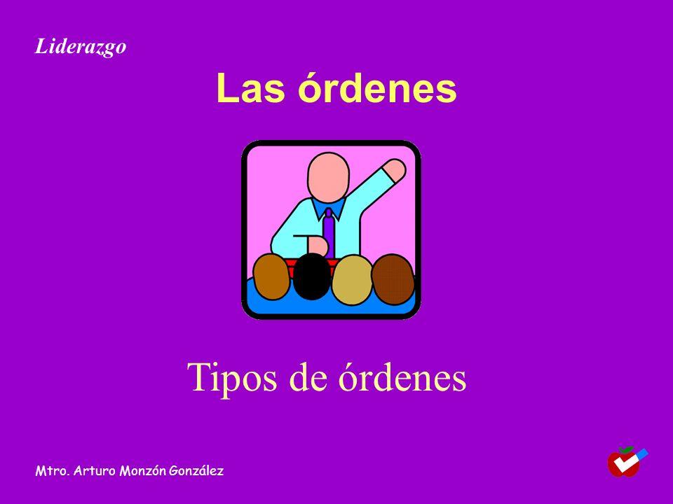 Liderazgo Las órdenes Tipos de órdenes Mtro. Arturo Monzón González