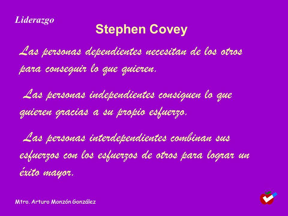 Liderazgo Stephen Covey. Las personas dependientes necesitan de los otros para conseguir lo que quieren.