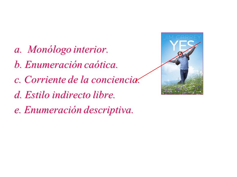 a. Monólogo interior. b. Enumeración caótica. c. Corriente de la conciencia. d. Estilo indirecto libre.