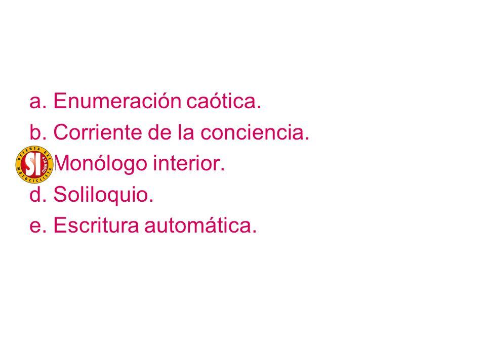 a. Enumeración caótica. b. Corriente de la conciencia.