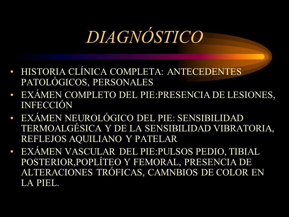 DIAGNÓSTICO HISTORIA CLÍNICA COMPLETA: ANTECEDENTES PATOLÓGICOS, PERSONALES. EXÁMEN COMPLETO DEL PIE:PRESENCIA DE LESIONES, INFECCIÓN.