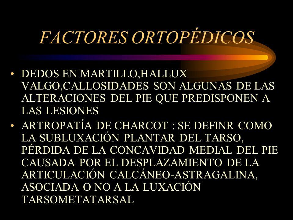 FACTORES ORTOPÉDICOS DEDOS EN MARTILLO,HALLUX VALGO,CALLOSIDADES SON ALGUNAS DE LAS ALTERACIONES DEL PIE QUE PREDISPONEN A LAS LESIONES.