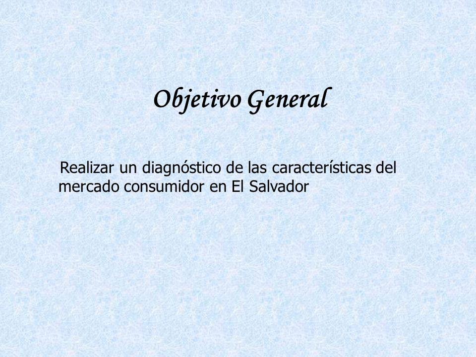 Objetivo General Realizar un diagnóstico de las características del mercado consumidor en El Salvador.