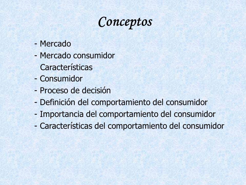 Conceptos Mercado Mercado consumidor Características Consumidor