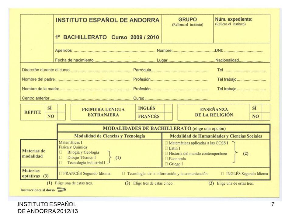 INSTITUTO ESPAÑOL DE ANDORRA 2012/13