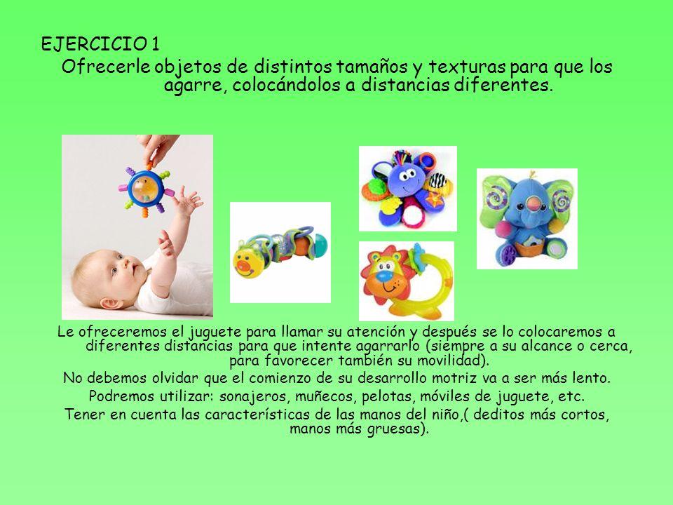 EJERCICIO 1 Ofrecerle objetos de distintos tamaños y texturas para que los agarre, colocándolos a distancias diferentes.