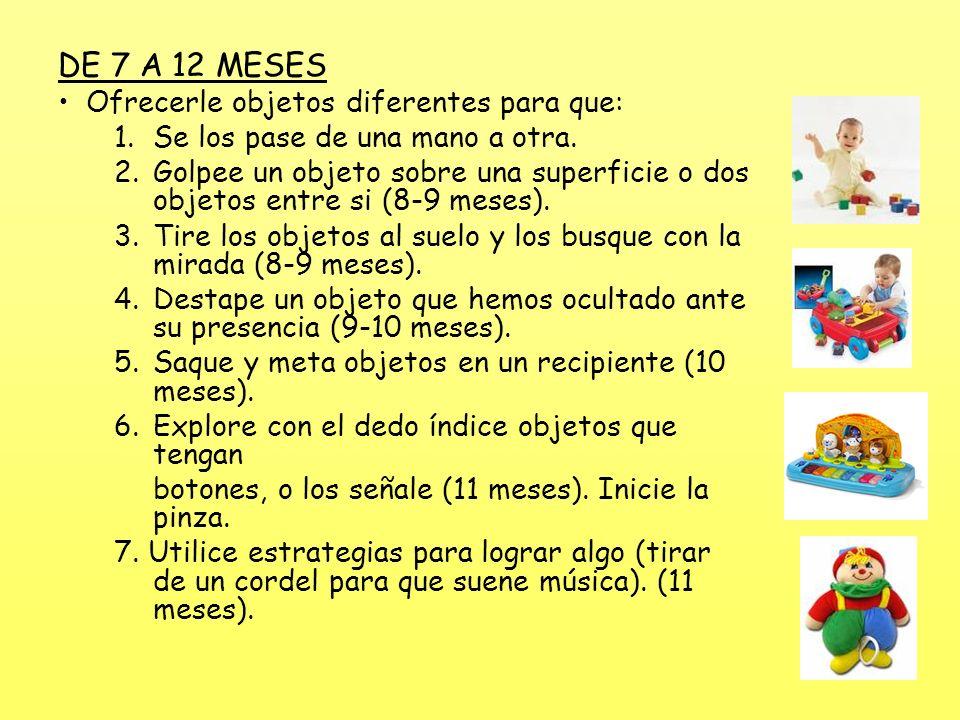 DE 7 A 12 MESES Ofrecerle objetos diferentes para que: