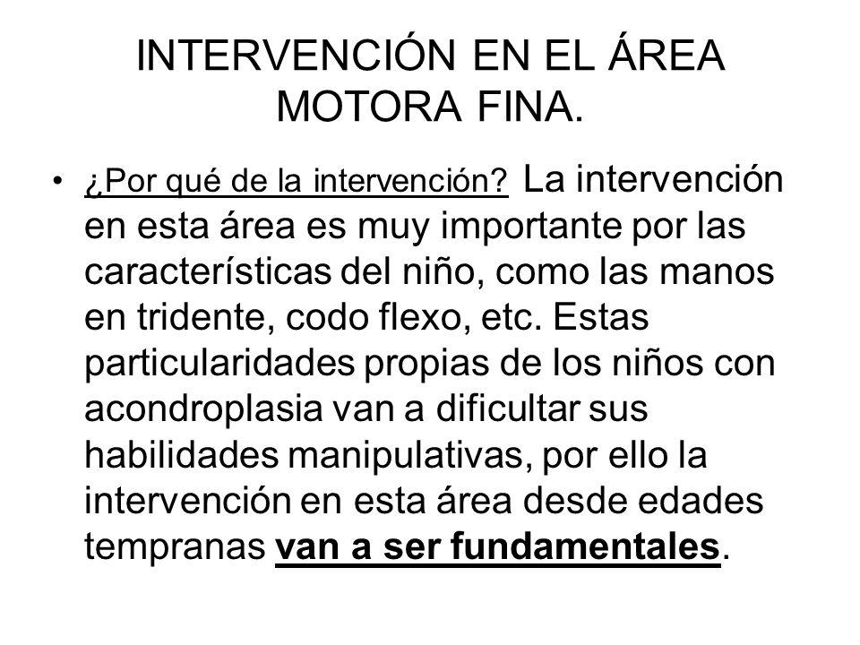 INTERVENCIÓN EN EL ÁREA MOTORA FINA.