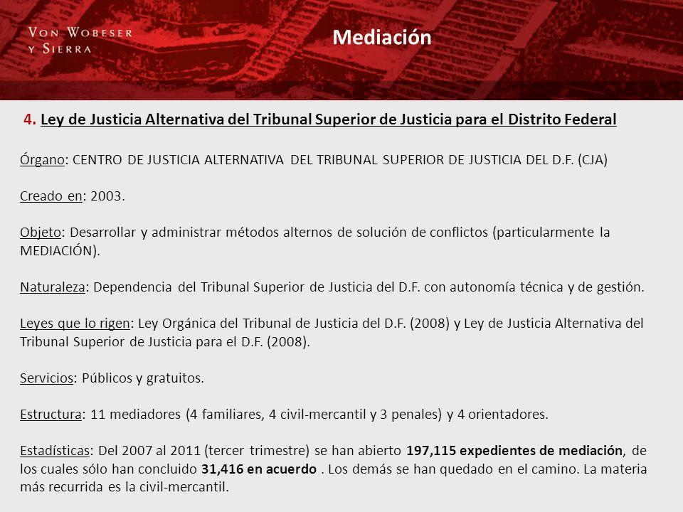Mediación 4. Ley de Justicia Alternativa del Tribunal Superior de Justicia para el Distrito Federal.