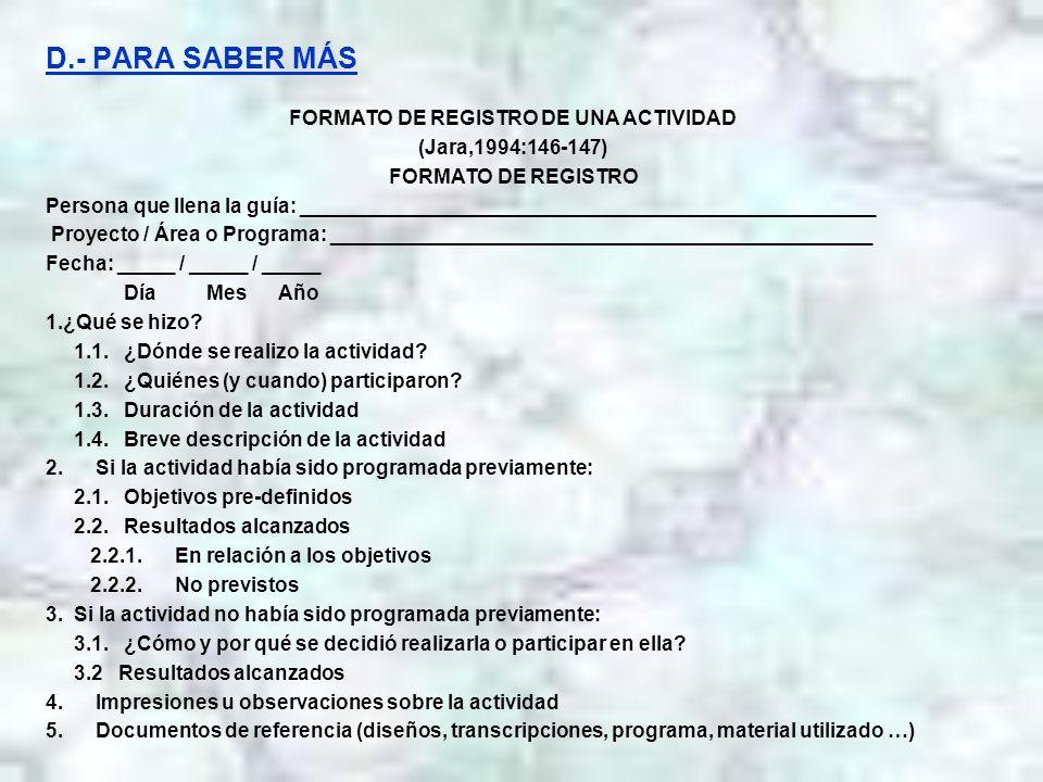 FORMATO DE REGISTRO DE UNA ACTIVIDAD