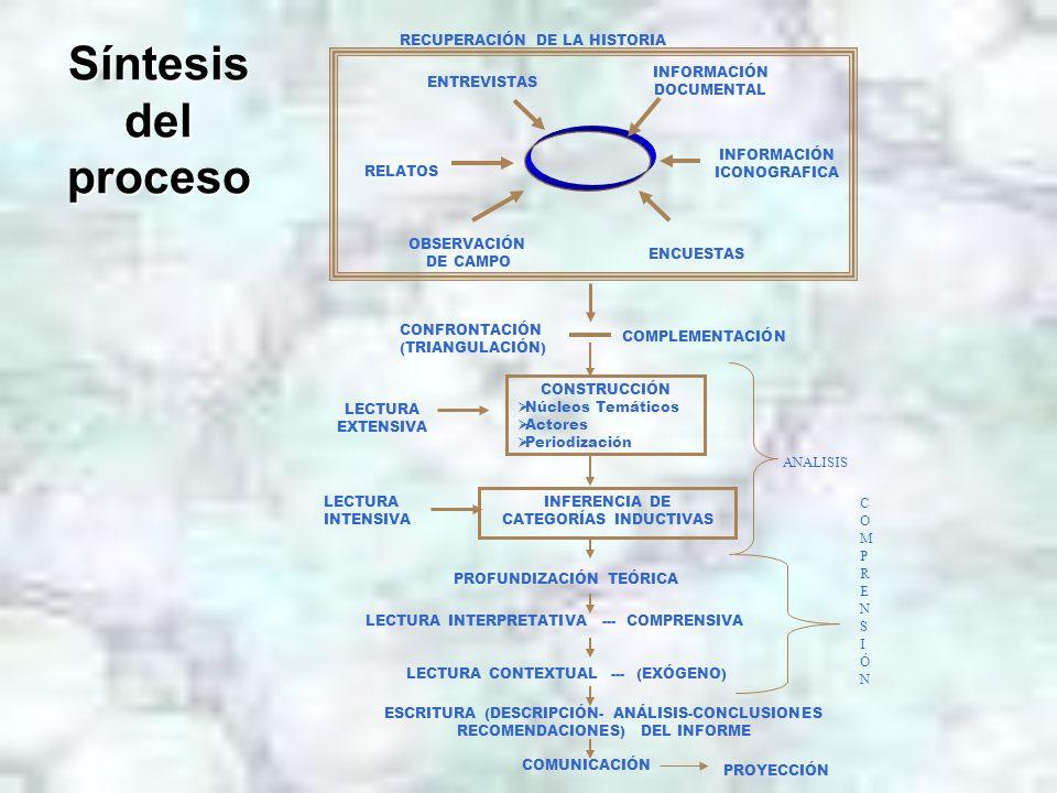 Síntesis del proceso CONSTRUCCIÓN Núcleos Temáticos Actores