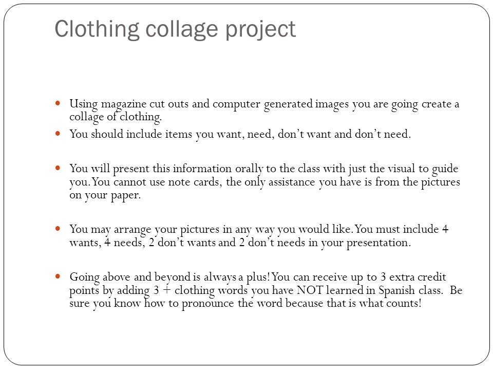 Clothing collage project