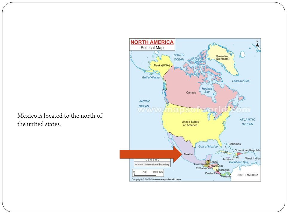 Mexico is located to the north of the united states.