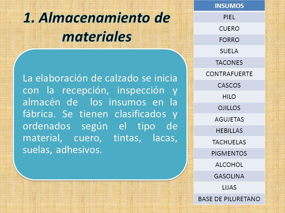 1. Almacenamiento de materiales