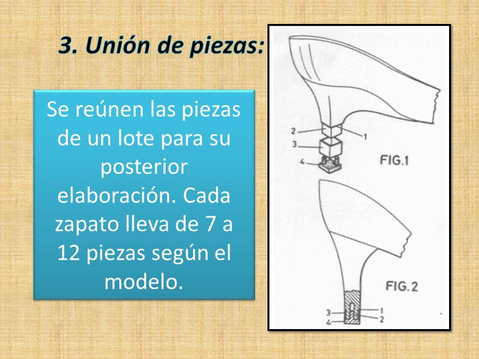 3. Unión de piezas: Se reúnen las piezas de un lote para su posterior elaboración.