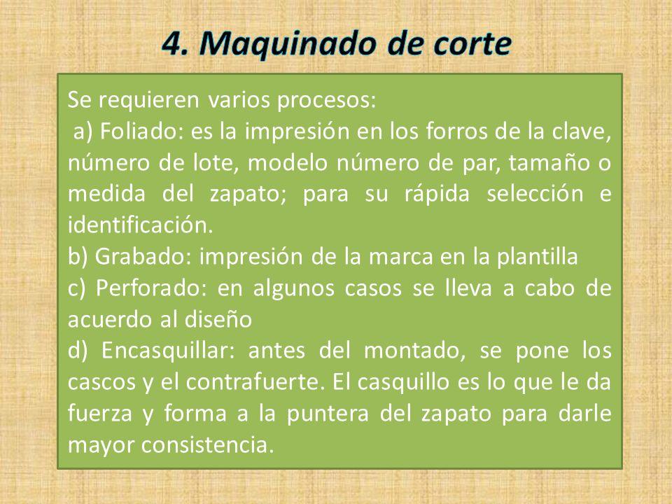 4. Maquinado de corte Se requieren varios procesos: