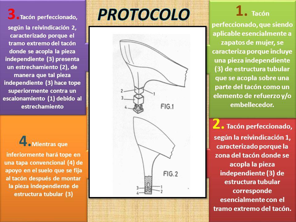 3.Tacón perfeccionado, según la reivindicación 2, caracterizado porque el tramo extremo del tacón donde se acopla la pieza independiente (3) presenta un estrechamiento (2), de manera que tal pieza independiente (3) hace tope superiormente contra un escalonamiento (1) debido al estrechamiento