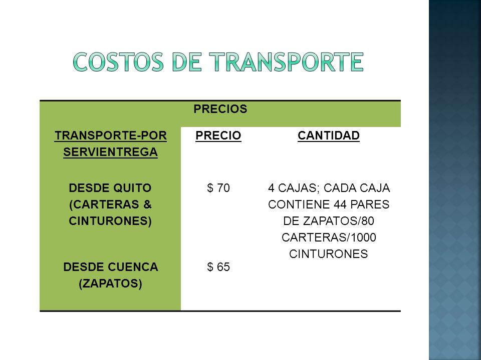 COSTOS DE TRANSPORTE PRECIOS TRANSPORTE-POR SERVIENTREGA PRECIO