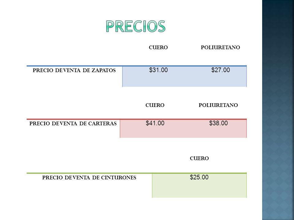 PRECIOS CUERO POLIURETANO PRECIO DE VENTA DE ZAPATOS $31.00 $27.00