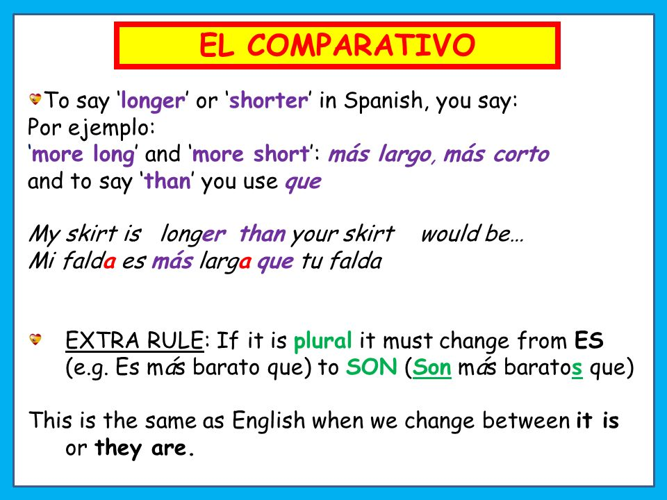 EL COMPARATIVO To say 'longer' or 'shorter' in Spanish, you say: