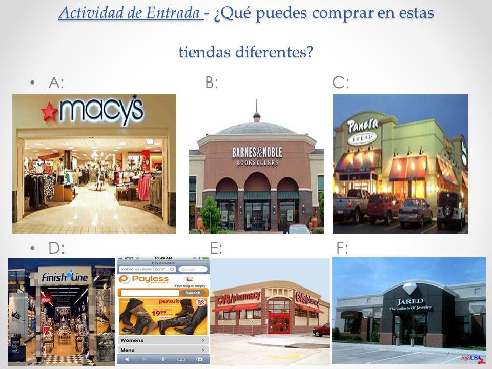 Actividad de Entrada - ¿Qué puedes comprar en estas tiendas diferentes