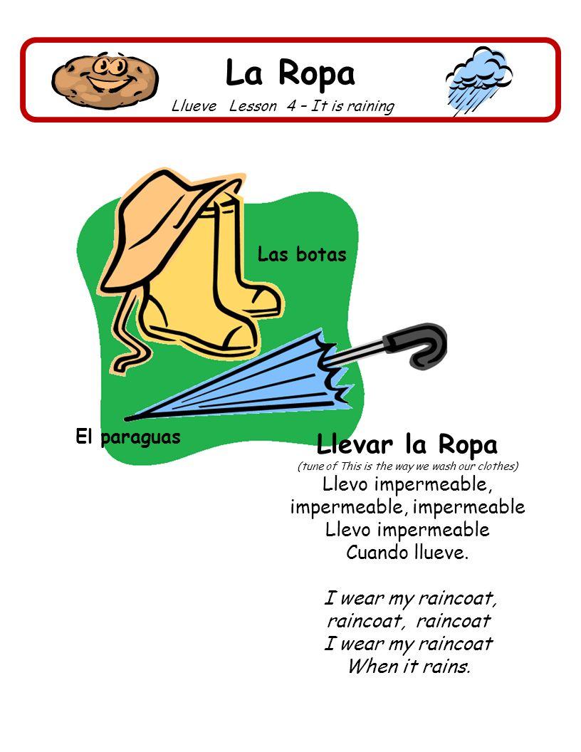 La Ropa Llevar la Ropa Las botas El paraguas Llevo impermeable,