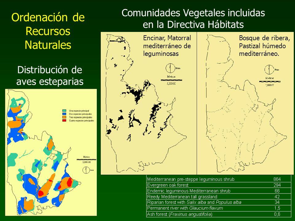 Ordenación de Recursos Naturales Comunidades Vegetales incluidas