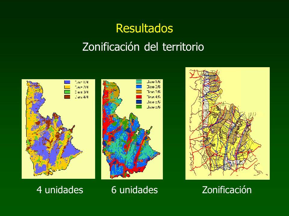 Resultados Zonificación del territorio 4 unidades 6 unidades