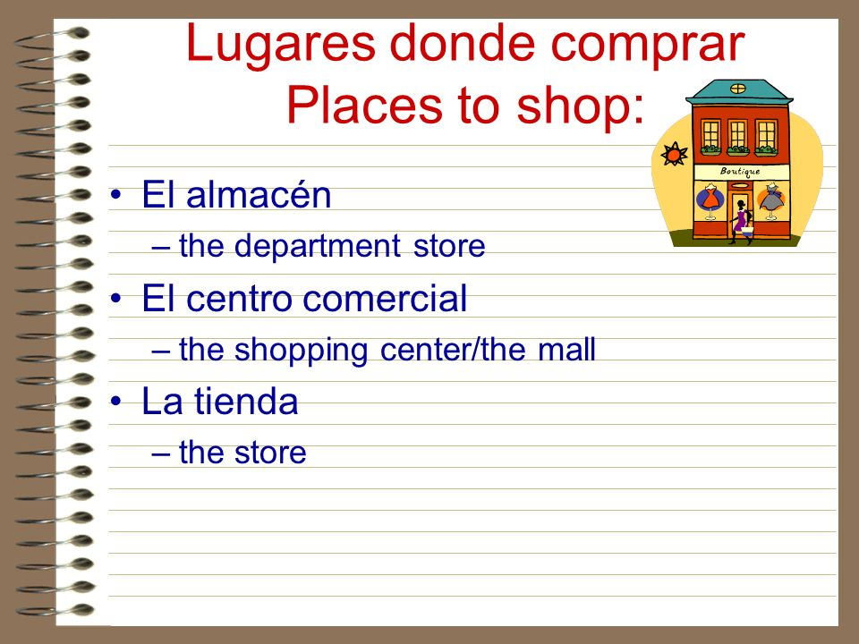 Lugares donde comprar Places to shop: