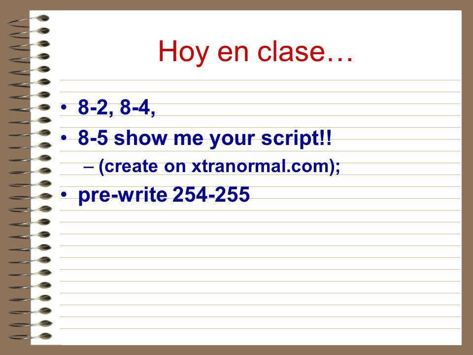 Hoy en clase… 8-2, 8-4, 8-5 show me your script!! pre-write 254-255