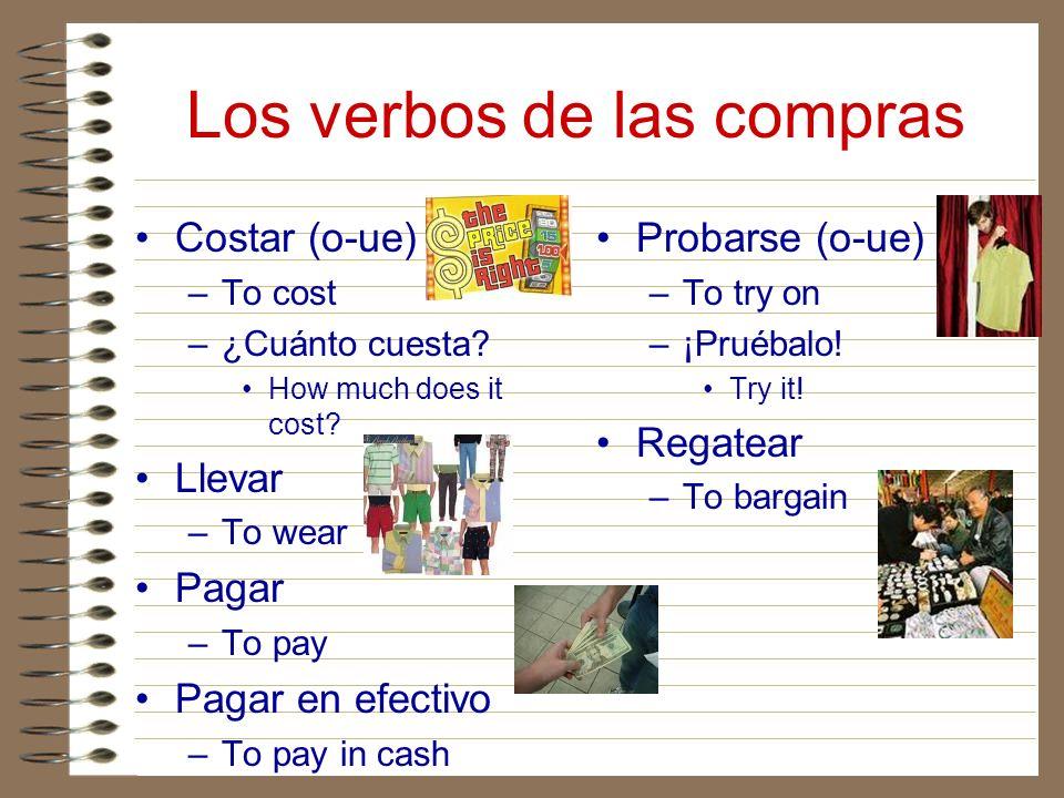 Los verbos de las compras