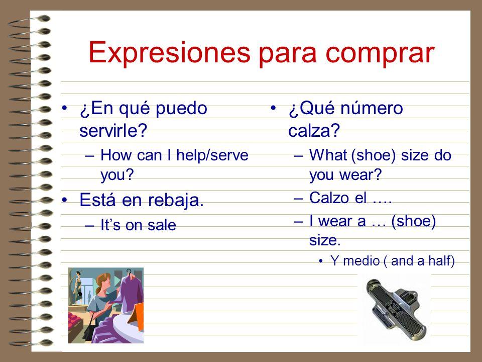 Expresiones para comprar