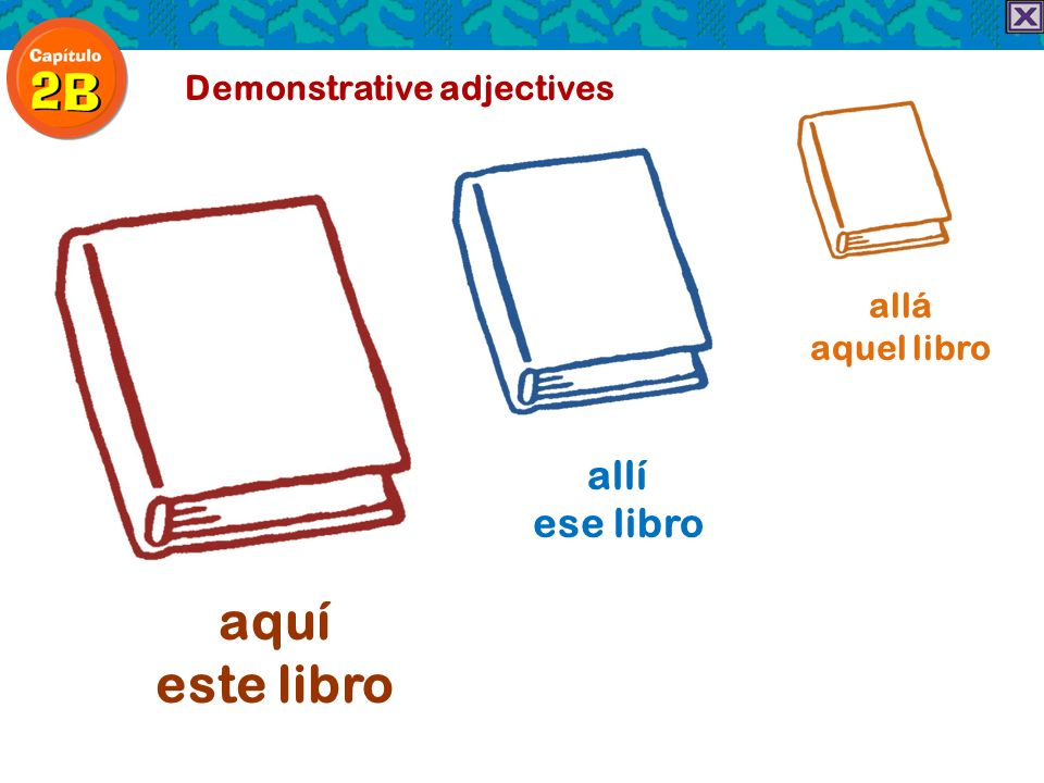 aquí este libro allí ese libro Demonstrative adjectives allá
