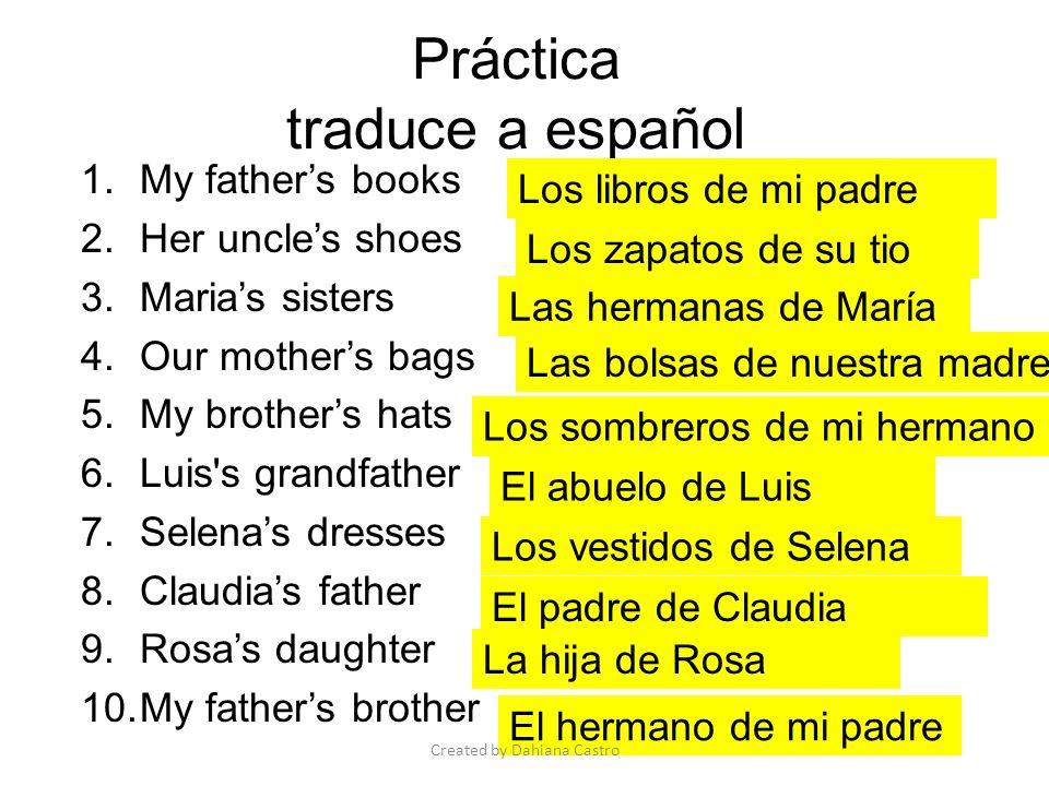 Práctica traduce a español