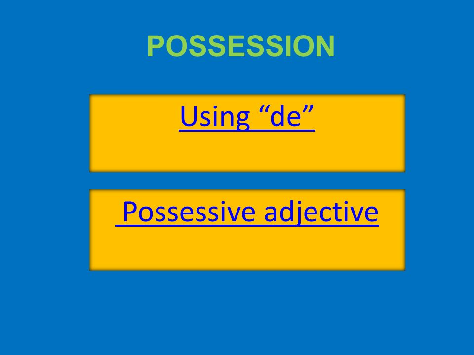 POSSESSION Using de Possessive adjective