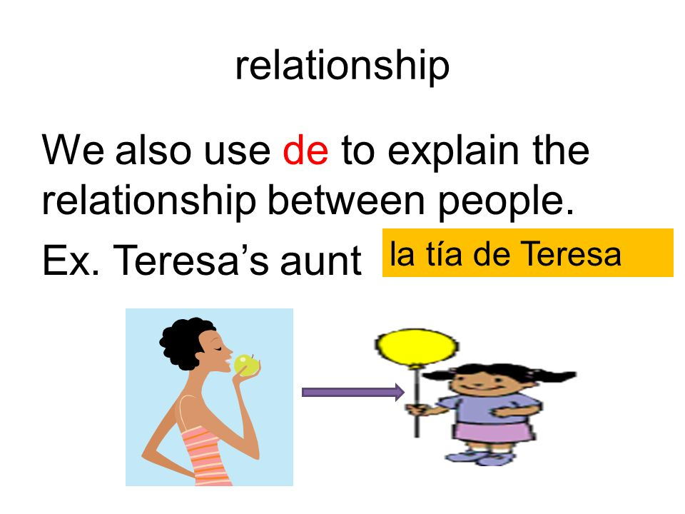relationshipWe also use de to explain the relationship between people.