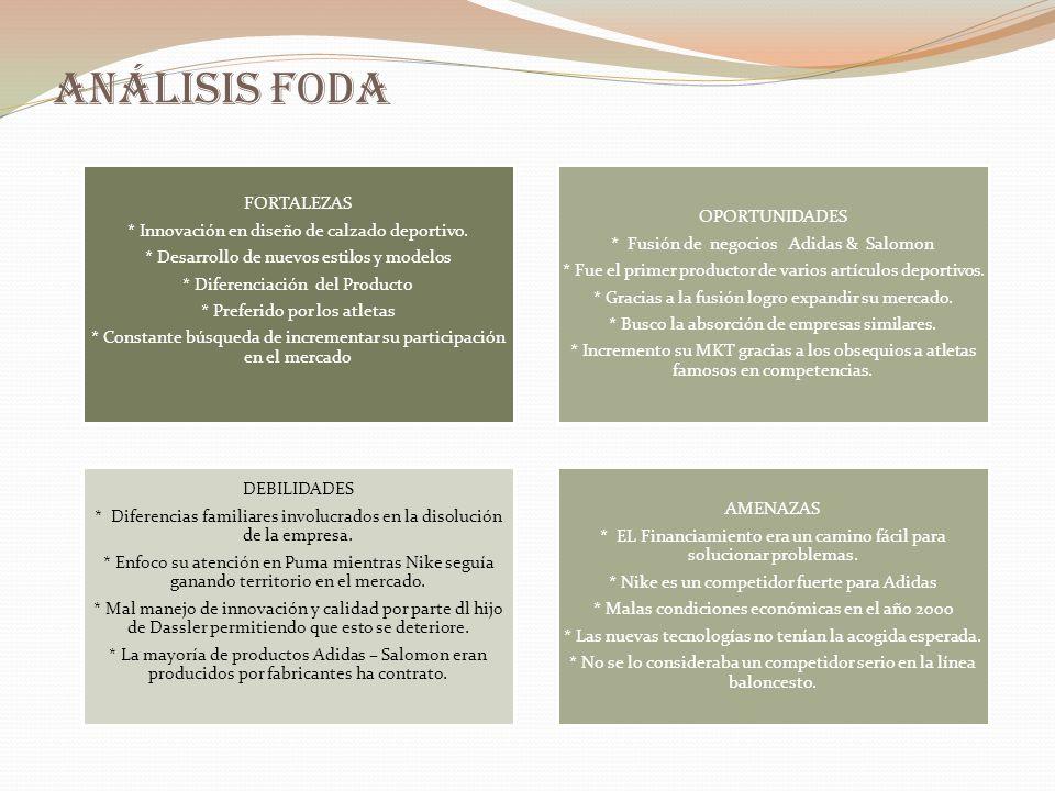 Análisis FODA * Innovación en diseño de calzado deportivo.