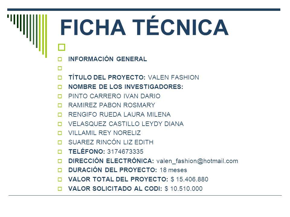 FICHA TÉCNICA INFORMACIÓN GENERAL TÍTULO DEL PROYECTO: VALEN FASHION